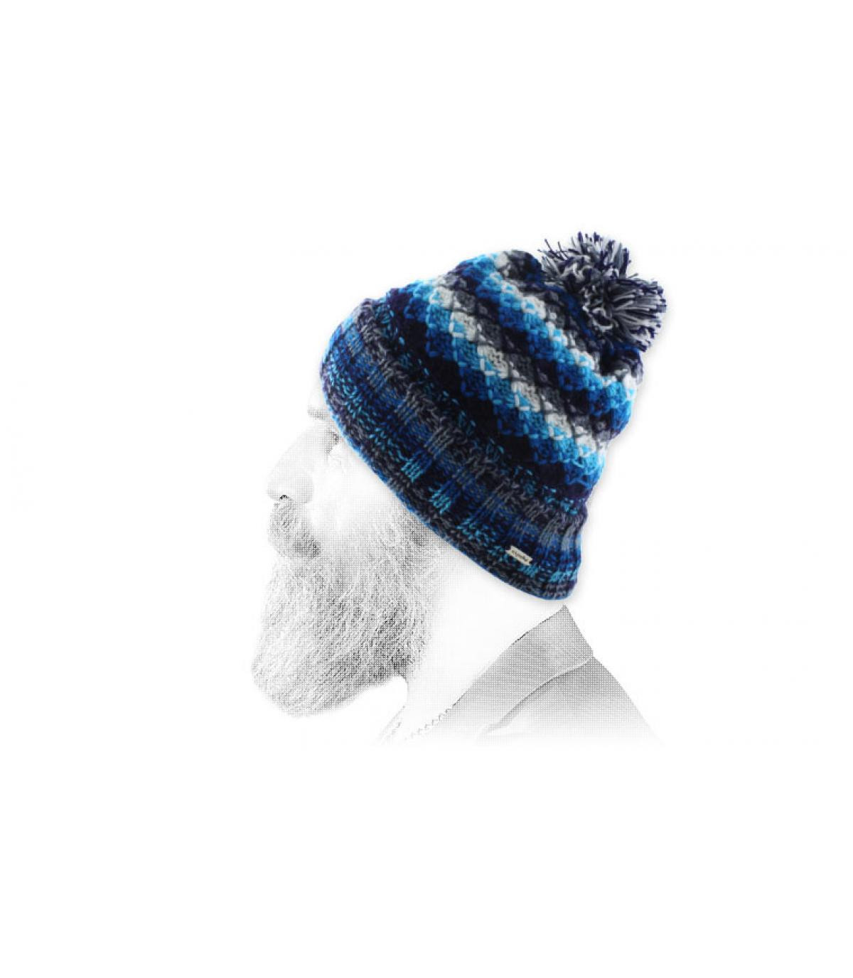 white blue pompom beanie