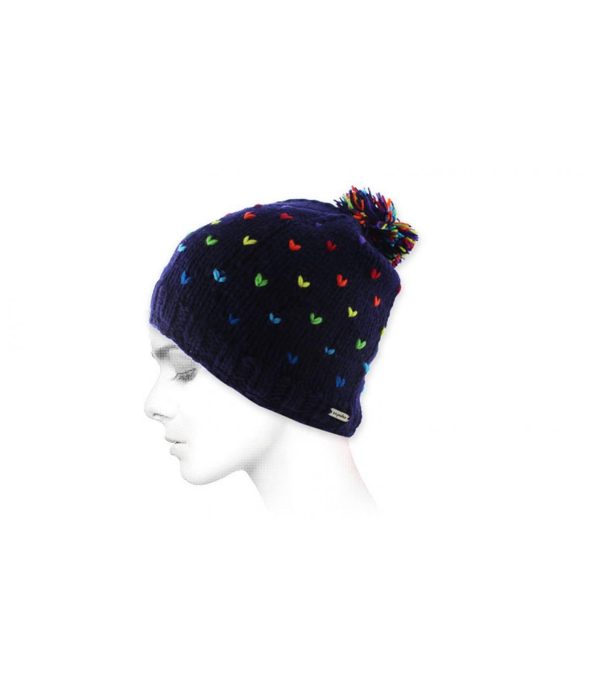 blue multicolour pompom beanie