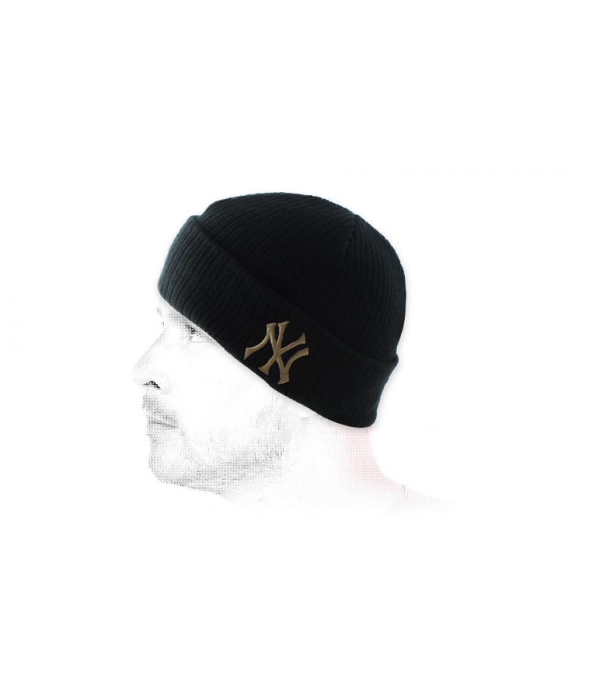 black cuffed NY beanie.