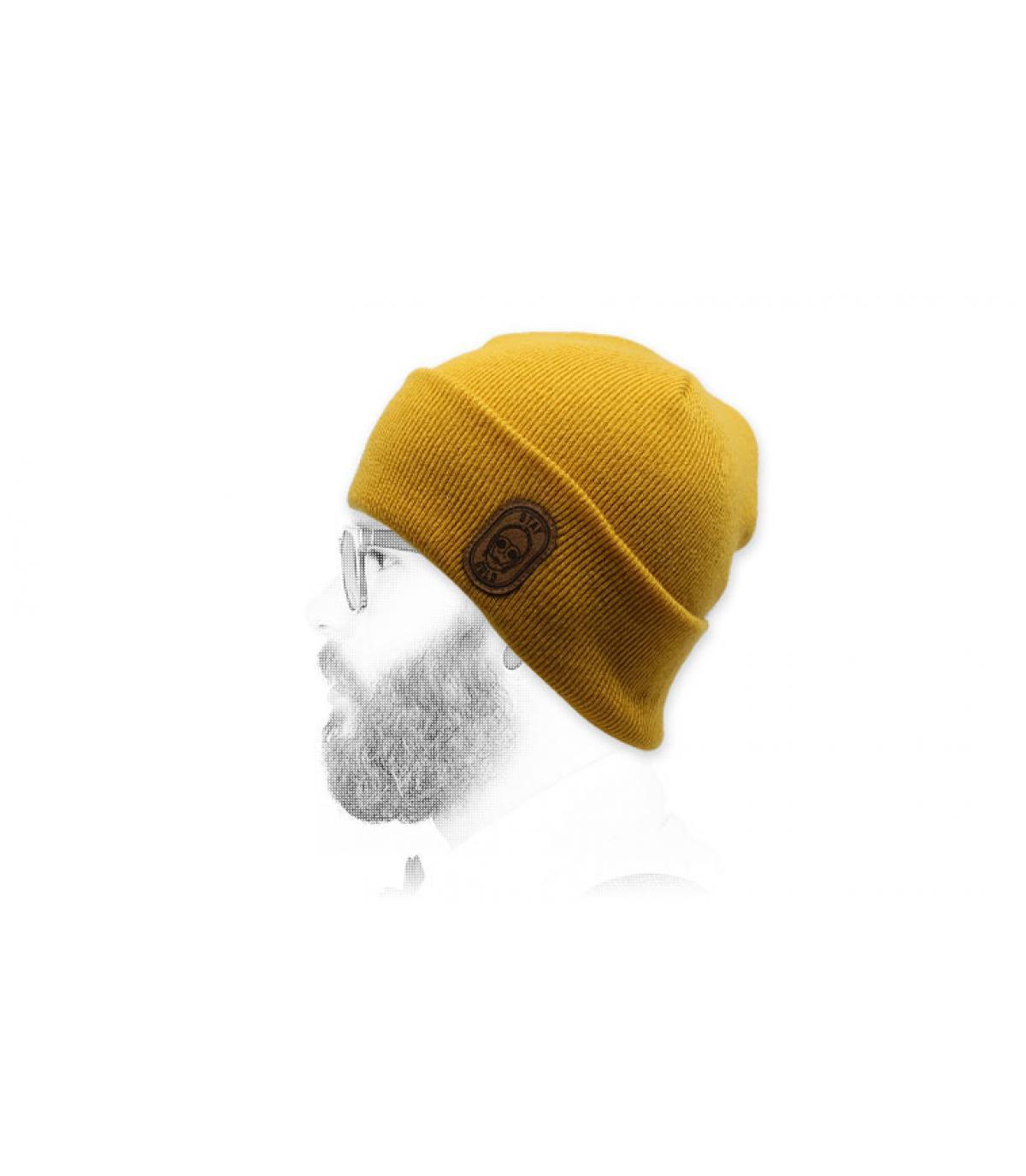 yellow robot beanie