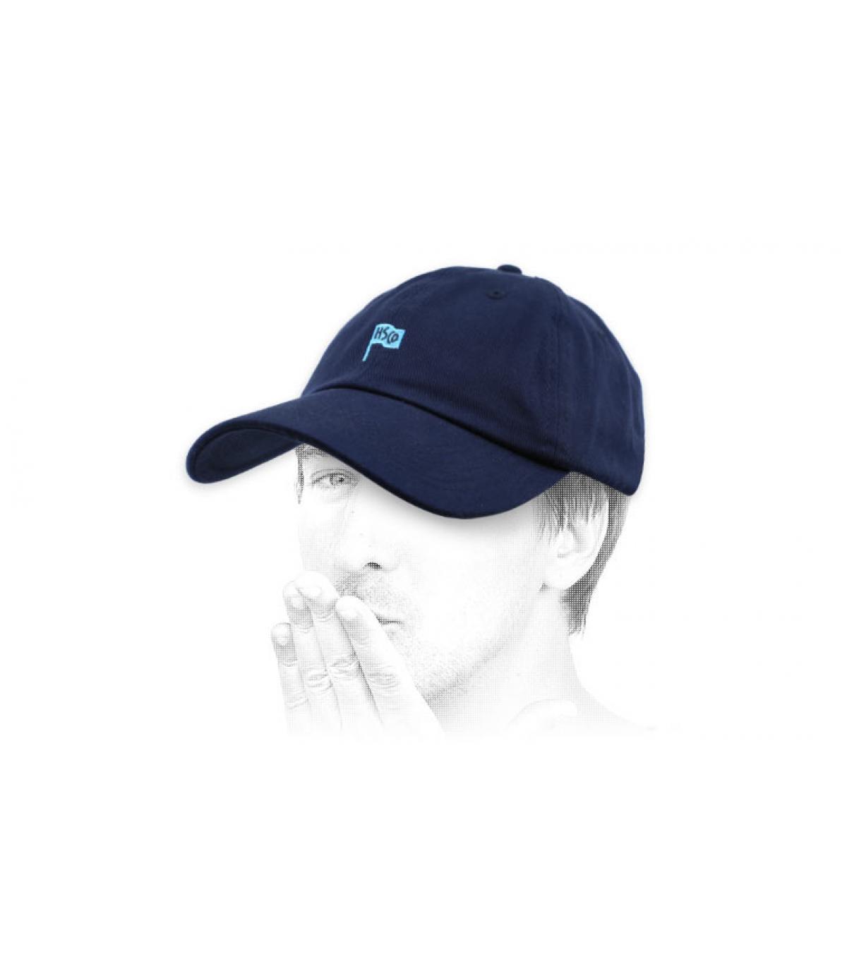 blue Herschel curve cap