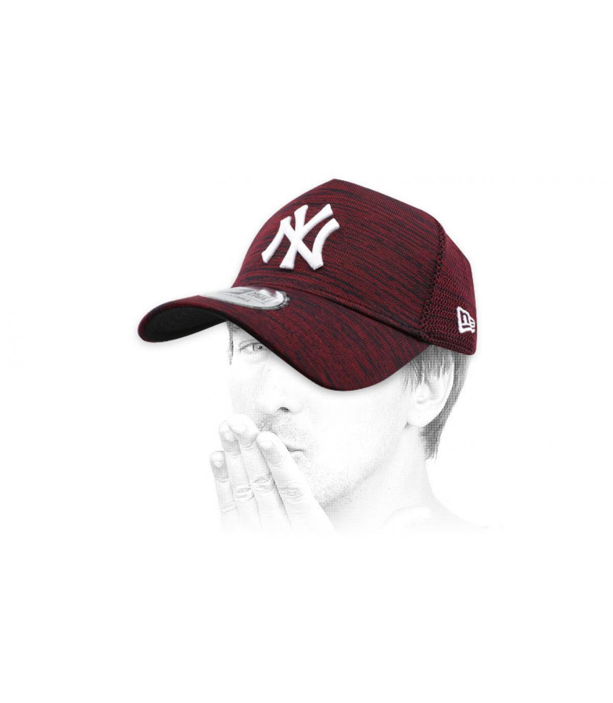heather burgundy NY cap