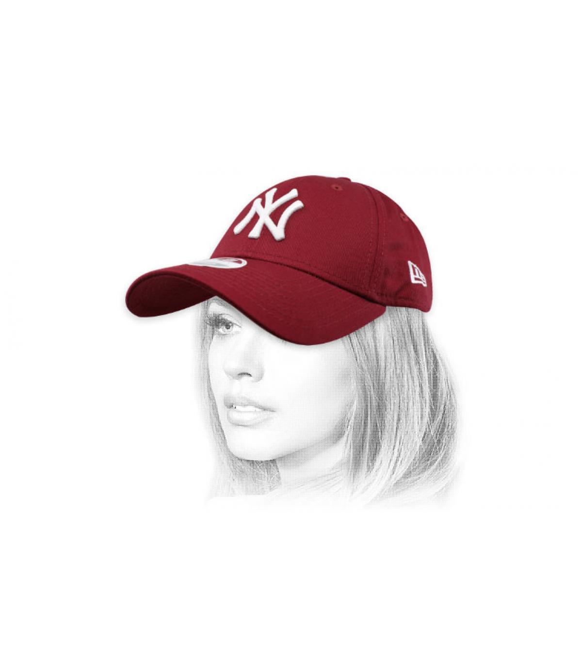 burgundy women NY cap