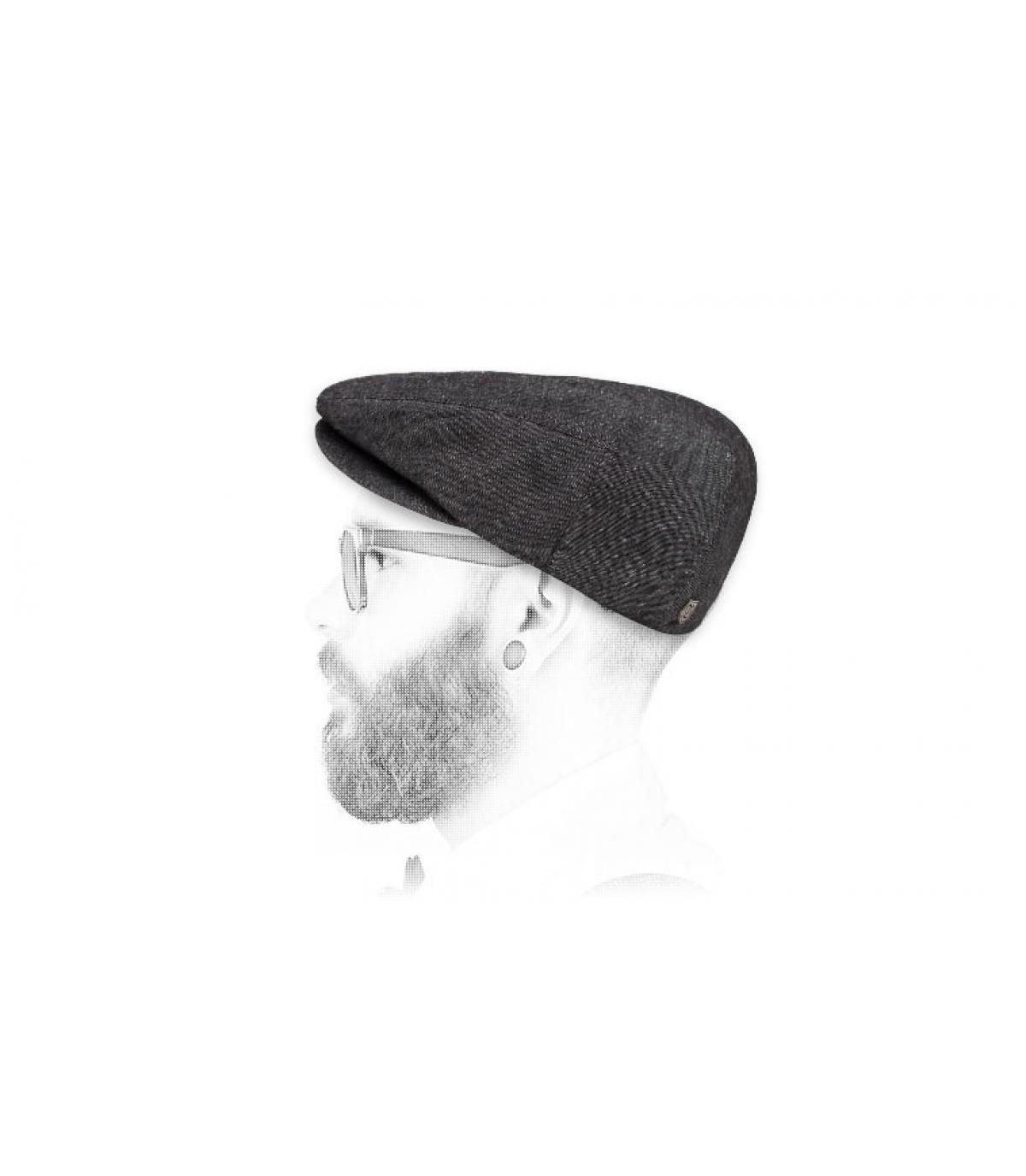 Brixton black linen flat cap