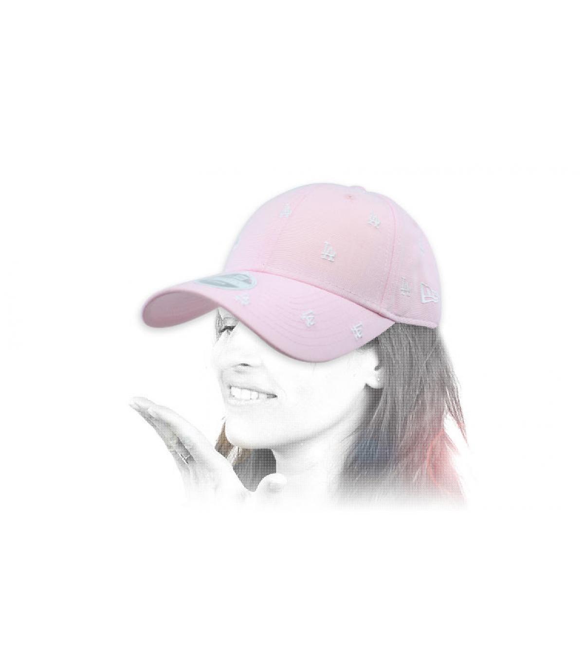 women pink monogram LA cap