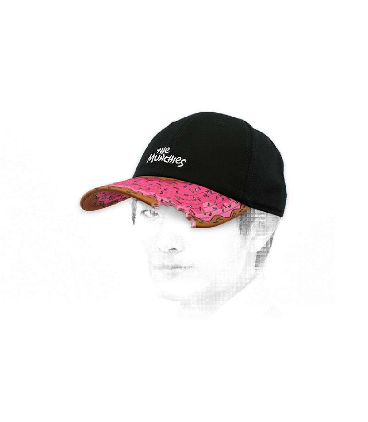 black pink donut cap